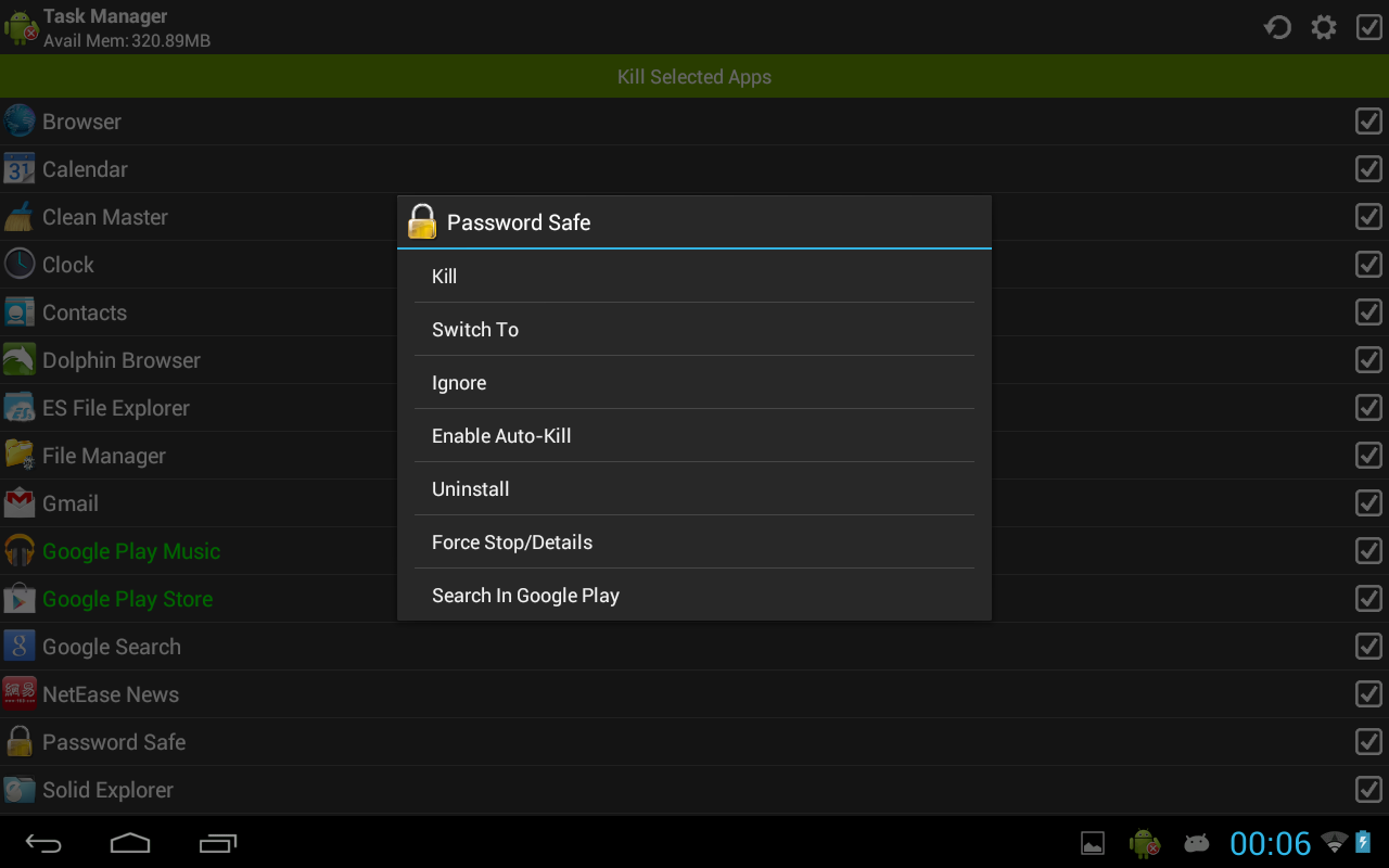 Task Manager (Task Killer) screenshot 1