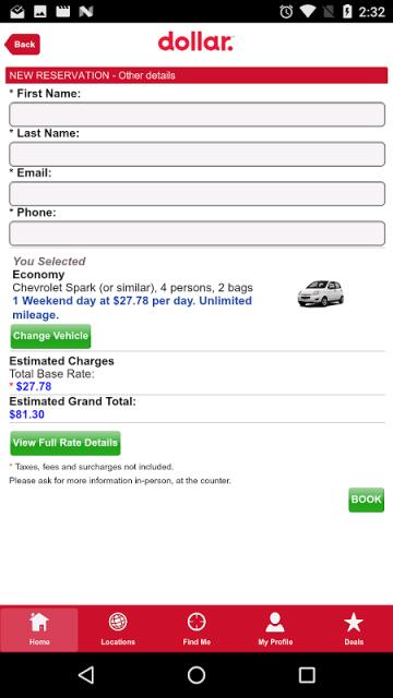 en US car rental mobileapp.