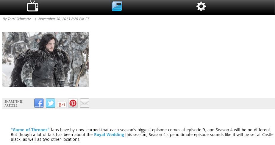 Game of Thrones News screenshot 1