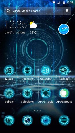 Blue Neon Future Tech Apus Launcher Theme Screenshot 2