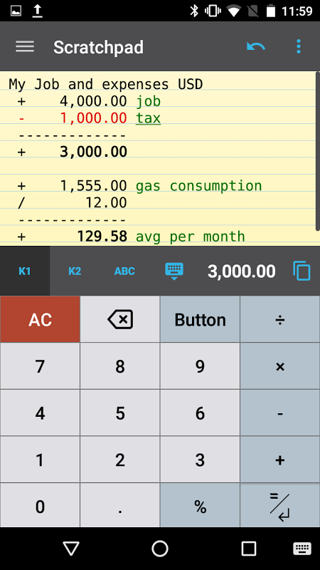 CalcTape calculadora screenshot 1