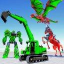 Dragon Robot Horse Game - Excavator Robot Car Game