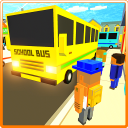 Cube Craft Pixel Schulbus 3D