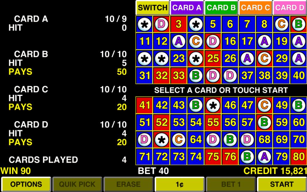 Keno multi card