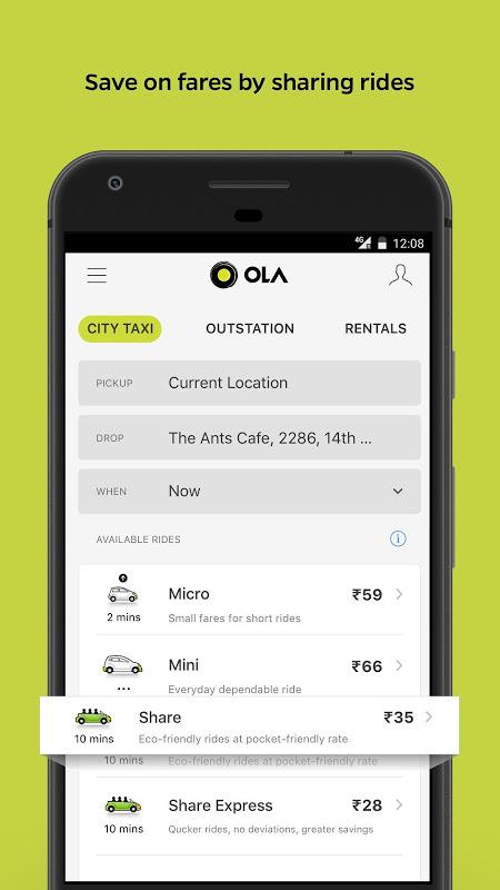Ola Lite: Lighter Faster Ola App. Book Taxi & Cabs screenshot 2