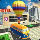 Aventura de ônibus de balão de ar voador