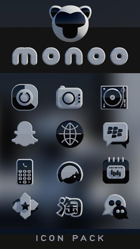 MONOO Icon Pack Black & White 3D HD 4 1 Download APK para