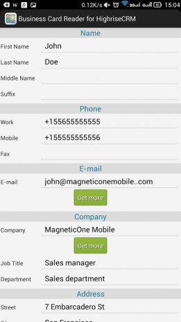 Business card reader for highrise crm 11131 download apk for business card reader for highrise crm screenshot 5 reheart Choice Image