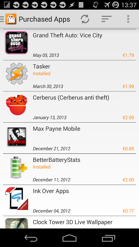 Purchased Apps screenshot 1