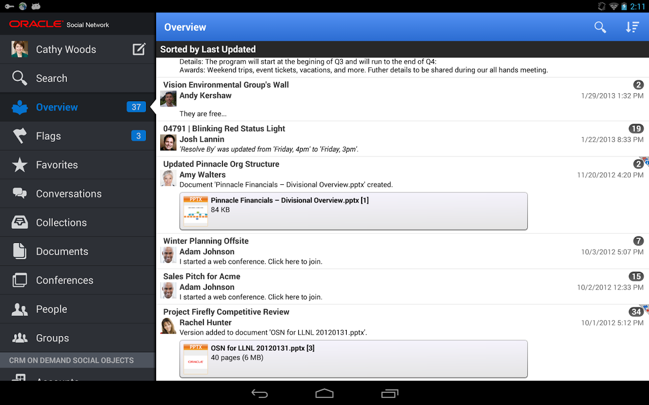 Oracle Social Network screenshot 1