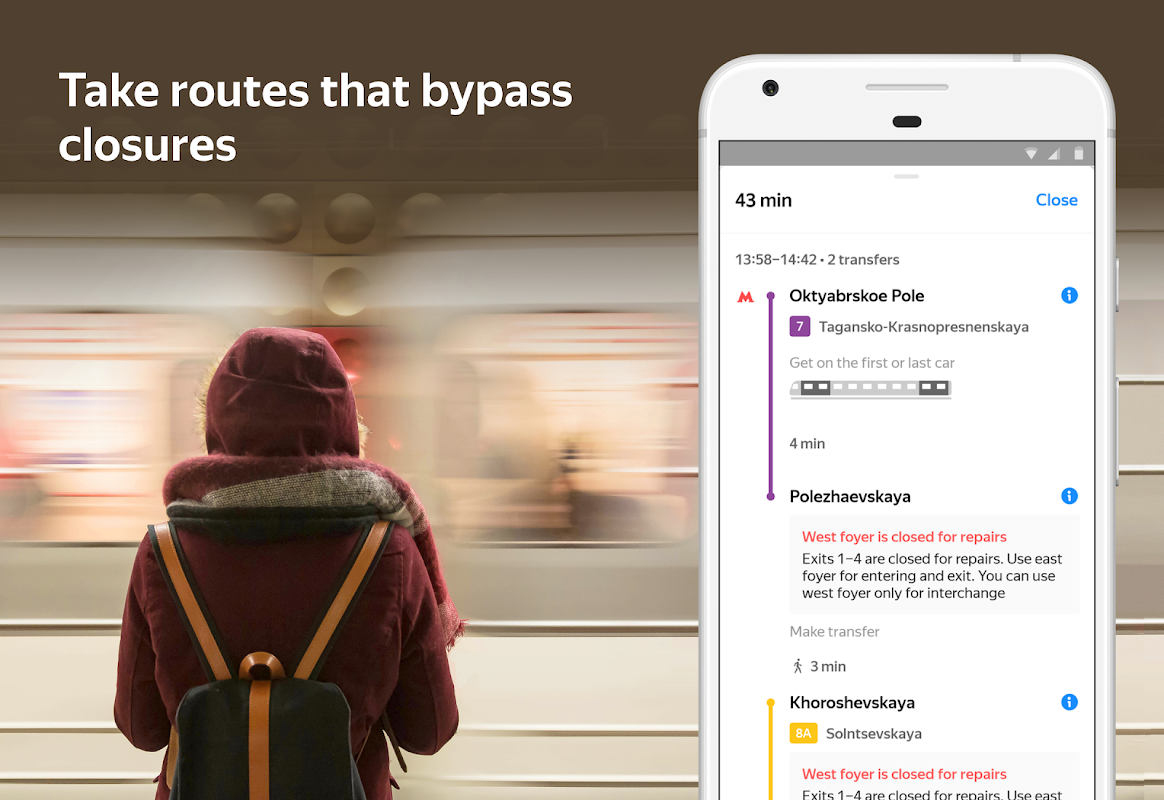 Yandex.Metro — detailed metro map and route times screenshot 2