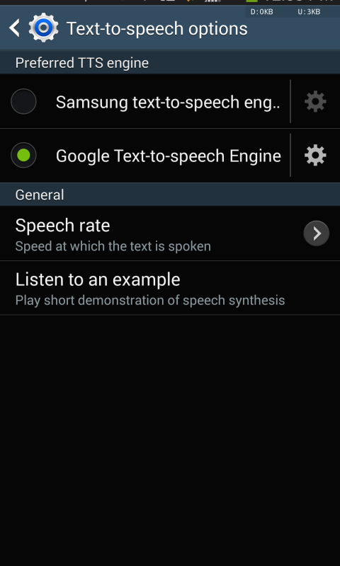 Samsung text-to-speech engine screenshot 1