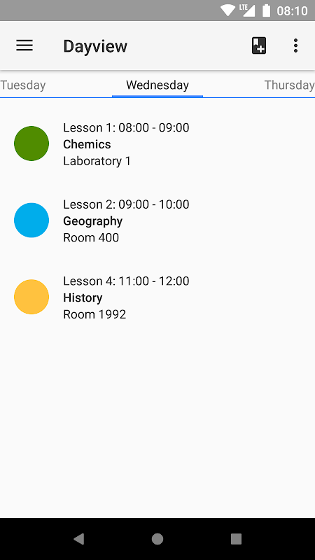 Timetable screenshot 2