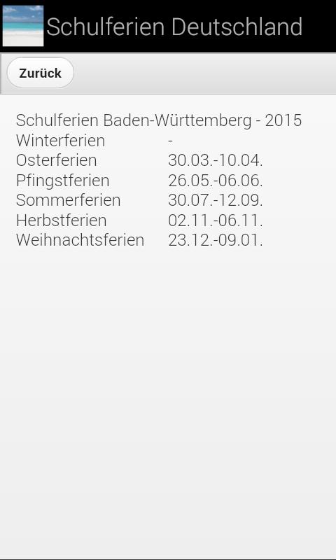 school holidays for Germany screenshot 2