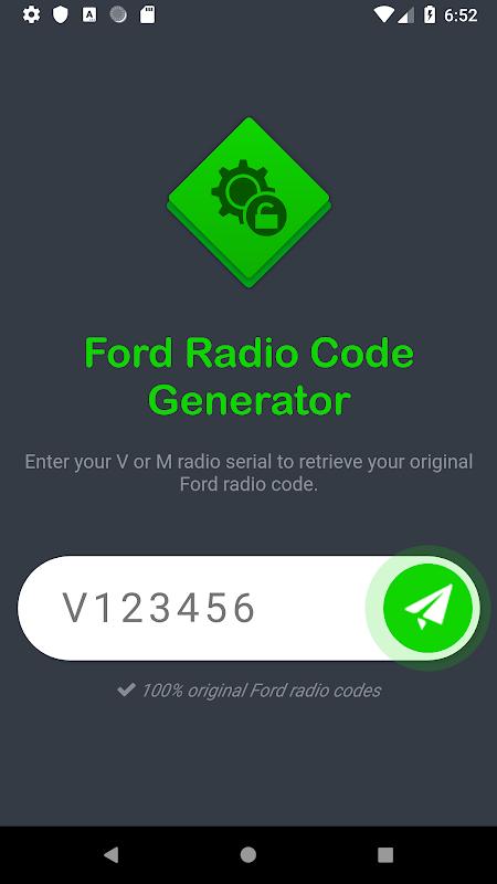 Ford Radio Code Generator - V & M Series screenshot 1