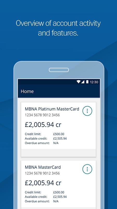 MBNA - Card Services App screenshot 2