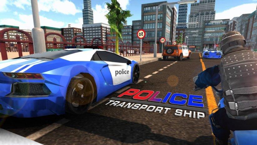 polizei schiff transporter spiel auto spiel screenshot 1