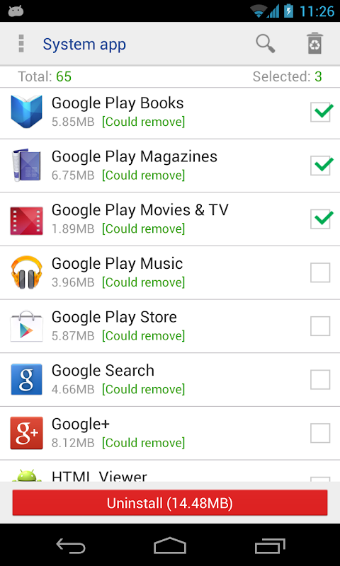 System app remover (ROOT) screenshot 1