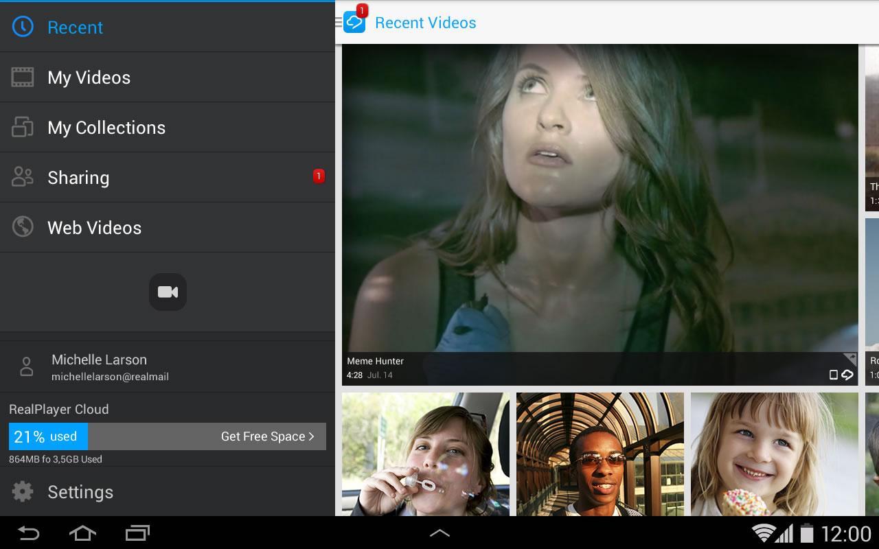 RealPlayer Cloud screenshot 1