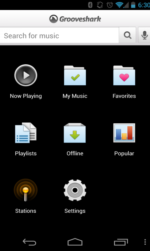 Grooveshark screenshot 1