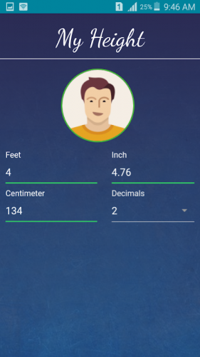 Cm and height feet in What is