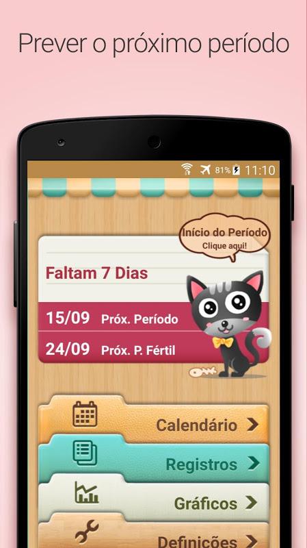 Calendário do Período, Menstrual Fértil e Ovulação screenshot 1