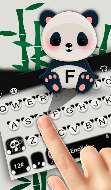 Black White Lovely Cute Panda Keyboard Theme screenshot 1