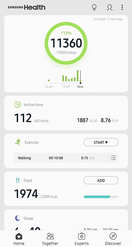 Samsung Health screenshot 1