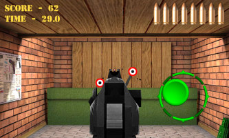 Pistol shooting at the target.  Weapon simulator. Screen