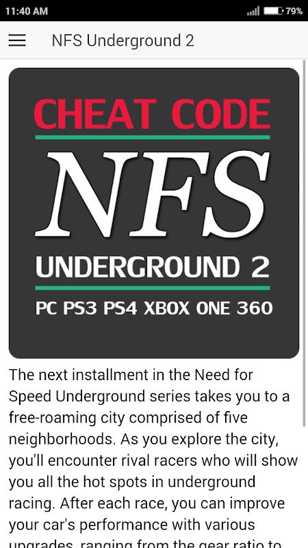 Cheat Code For Need For Speed Underground 2 Game 1 2 2 Download