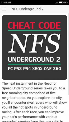 Cheat Code for NEED FOR SPEED UNDERGROUND 2 Game 1 2 2