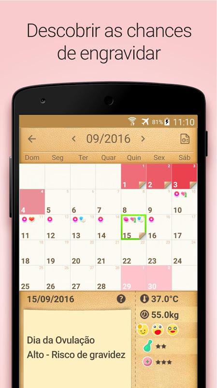 Calendário do Período, Menstrual Fértil e Ovulação screenshot 2