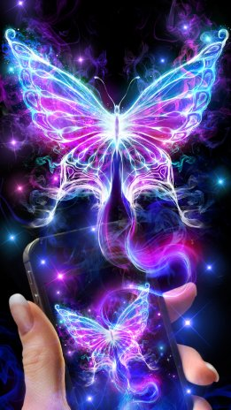 Smoke Neon Butterfly Live Wallpaper Screens3