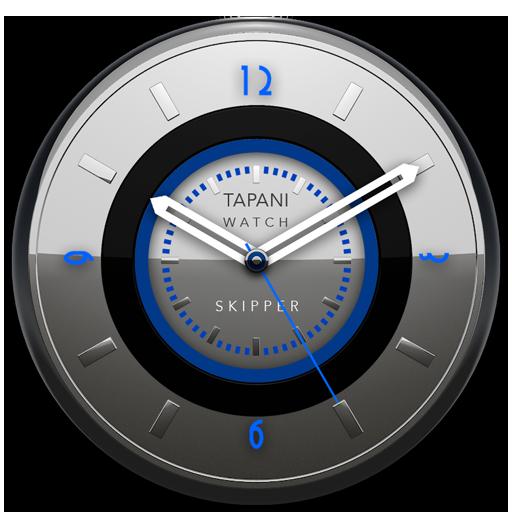 SKIPPER Designer Clock Widget alu blue