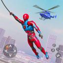 Eroe volante della corda del robot - città crimine