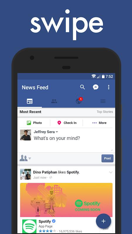 Swipe for Facebook screenshot 1
