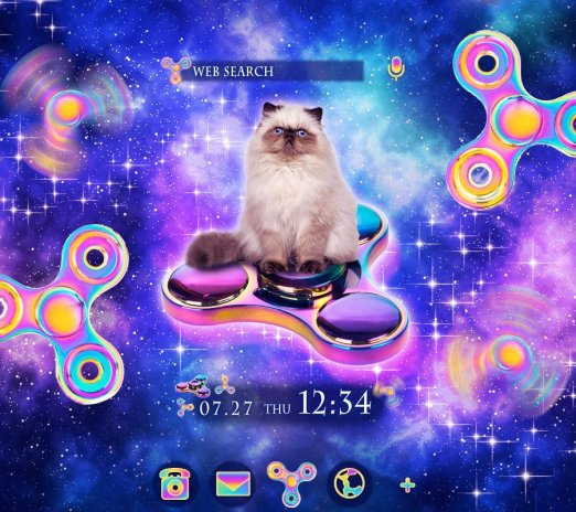 Cool Wallpaper Space Cat Spinners Theme Screenshot 1