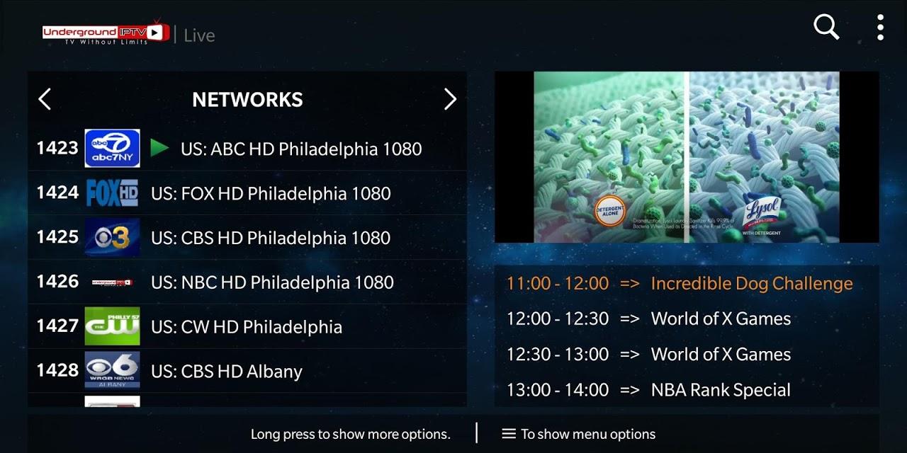 Underground IPTV screenshot 2