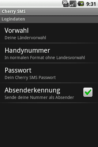 CHERRY SMS screenshot 2