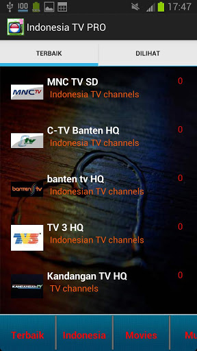 Indonesia TV PRO 250 Channels Screenshot