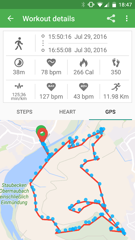 Accurate GPS tracking for work out. Courtesy: Aptoide
