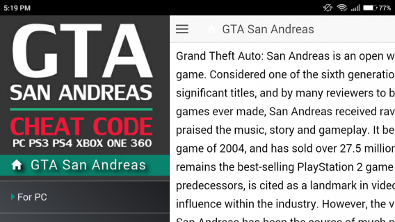 Codes for GTA San Andreas Game 1 3 2 Download APK for