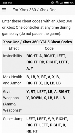 Gta 5 cheats for xbox1
