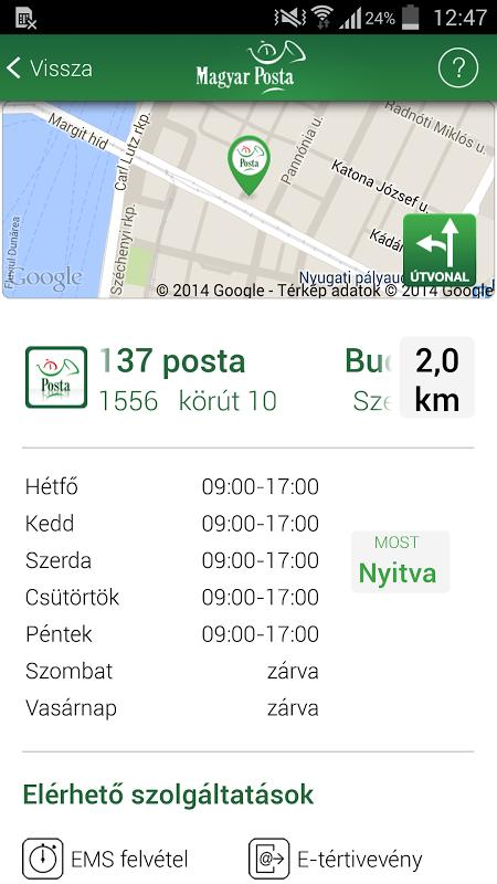 Magyar Posta applikáció screenshot 2