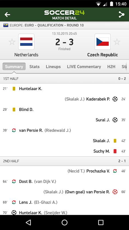 Soccer 24 - soccer live scores screenshot 1