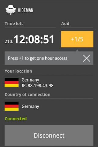 Hideman VPN Screenshot