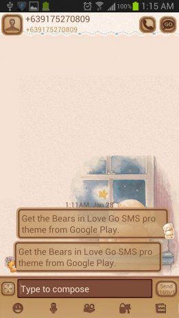 Bears in Love Go SMS Pro Theme 1 1 Download APK for Android