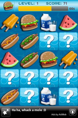 Memory Game For Kids-Fast Food screenshot 2