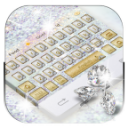 Shine diamond silver keyboard
