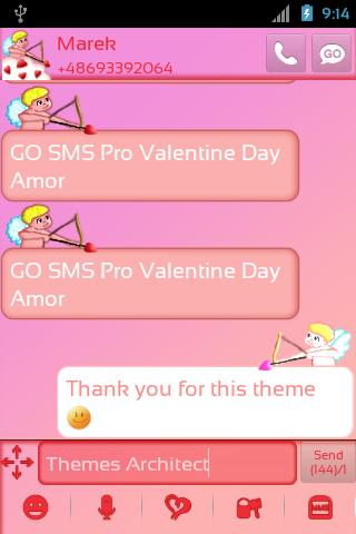 ... Go Sms Pro Valentinstag Amor Screenshot 2